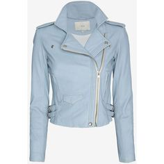 IRO Hana Leather Jacket: Sky Blue ($869) ❤ liked on Polyvore featuring outerwear, jackets, coats, coats & jackets, giacche, leather zip jacket, quilted jacket, leather jackets, blue quilted jacket and genuine leather jackets