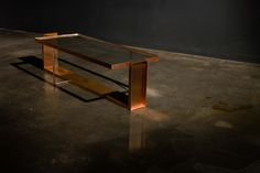 Dining table LONG LAY - patinated cooper and clear glass top