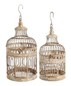 This Cream Ornate Bird Cage Décor - Set of Two is perfect! #zulilyfinds