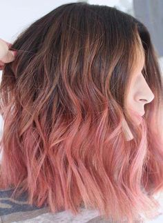 Brown Hair With Highlights, Hair Color Highlights, Ombre Hair Color, Hair Color Balayage, Haircolor, Ombre Hair Brunette, Rose Hair Color, Cabelo Rose Gold, Rose Gold Hair