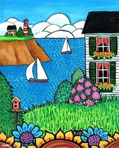 Original Nova Scotia Folk Art paintings & prints by Shelagh Duffett available at the Market and online.