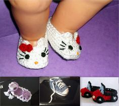 Hello Kitty Baby Booties CROCHET PATTERN,