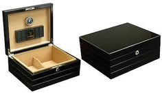 "NEW ONYX 50 COUNT #cigar  HUMIDOR BOX WITH HUMIDIFIER & HYGROMETER - GLOSSY BLACK! THE ONYX - 25-50 CIGAR HUMIDOR. Capacity 50 cigars, High Gloss Black Finish, Routed Linear Design, Polished Silver Hardware, Internal Locking Hinges, Humidifier, Black Face Hygrometer, Spanish Cedar Lined, Adjustable Divider, Lock & Key Set, 11 1/2"" W x 9 1/2"" D x 4 3/4"" H. People Feedback is Greatly Appreciated!! #cigarbox  #CigarLifestyle  #cigarlife…"