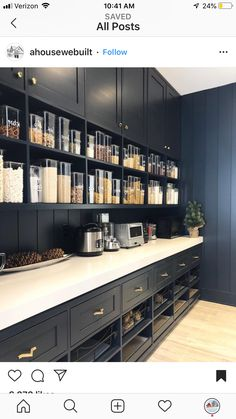 Our hidden pantry room has been one of the most useful things we incorporated into our house design! I've gotten a lot of questions about… Kitchen Butlers Pantry, Pantry Room, Kitchen Pantry Design, Pantry Storage, Butler Pantry, Wall Pantry, Microwave In Pantry, Pantry Closet, Storage Drawers