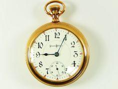 Rare Antique 18s 21j Railroad Illinois Bunn Special Gold Pocket Watch Serviced #IllinoisBunnSpecial