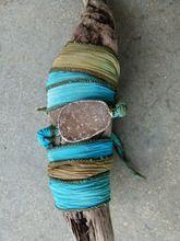 Druzy Silk Wrap Bracelet Blue/Green