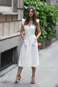 romantic dress looks - Lady Addict. White romantic midi dress+black ankle strap heeled sandals+rattan shoulder bag+gold necklace. Summer Dressy Causal/ Date/ Going Out Outfit 2018