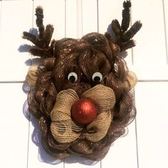 Rudolph wreath by Whimsy Wreaths Facebook:  https://www.facebook.com/whimsywreathsholidaydecor/ Etsy: https://www.etsy.com/shop/WhimsyWreathsDesigns?ref=hdr_shop_menu