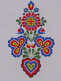 ornament z Hluku, foto: V. Hungarian Embroidery, Folk Embroidery, Embroidery Patterns, Polish Folk Art, Scandinavian Folk Art, Stencil Patterns, Arte Popular, Stencil Diy, Barn Quilts