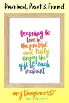 Download and print this rainbow quote from Amy Tangerine.  This positive hand-lettered quote would make great colorful wall art for your home office or any where in your house! #amytangerine #quotes #printables Hand Lettering Quotes, Creative Lettering, Brush Lettering, Tangerine Quotes, Printing Services, Online Printing, Rainbow Quote, Wall Art Prints, Framed Prints