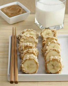 Banana Sushi: banana, peanutbutter, and puffed rice