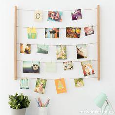 Soporte de madera para colgar fotos - Natural