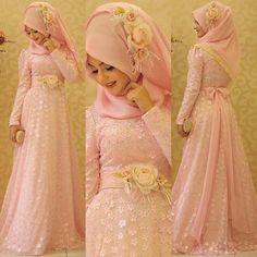 Rosy Hijabi Wedding, Hijab Wedding Dresses, Prom Dresses With Sleeves, Bridal Dresses, Hijab Evening Dress, Hijab Dress Party, Hijab Style Dress, Party Dresses, Bridal Hijab