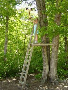 Zipline tree fort Note: great structure and support ideas. ladder could be a climbing wall.