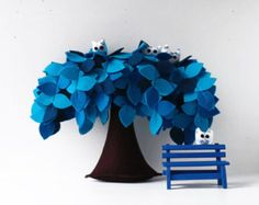 Tree 10 ravens and one bench Felt tree by Intres on Etsy