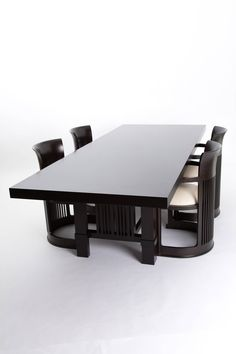 Cassina Frank Lloyd Wright table and six chairs cherry wood | From a unique collection of antique and modern dining room sets at https://www.1stdibs.com/furniture/tables/dining-room-sets/
