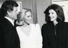 Sen. Edward Kennedy, his wife Joan, and Jacqueline Onassis attend a tribute ceremony to Sen. Kennedy at the Shubert Theater in New York on March 23, 1980.  source: UPI