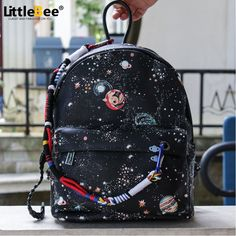 Fashion Star Universe Space Printing Backpack Black School Bags For Teenage Girls Small Backpack Women Leather Mochila Escolar Small Backpack, Canvas Backpack, Backpack Purse, Black Backpack, Fashion Backpack, Black School Bags, School Bags For Girls, Girls Bags, Shoulder Backpack