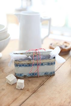 nice to use old tins for gifting of home made items like soaps or cakes or candy