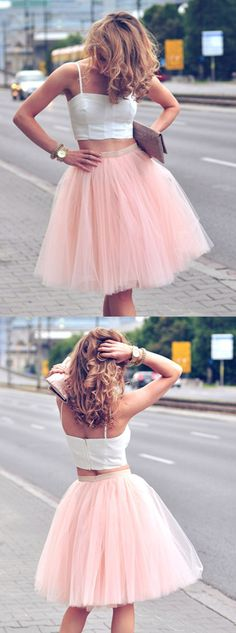 two pece homecoming dresses,tulle homecoming dresses,simple homecoming dresses,2017 homecoming dresses,short prom dresses @simpledress2480