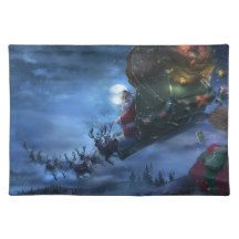Santa Delivering Presents Fabric Placemat