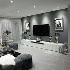 100 Scandinavian Living Room / Home decor Apartment Living Room Decor Home living room Scandinavian Living Room Decor Cozy, Rooms Home Decor, Living Room Grey, Living Room Interior, Home And Living, Tv On Wall Ideas Living Room, Grey Living Room Inspiration, Grey Loving Room Ideas, Living Room Ideas Modern Grey