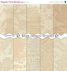 ON SALE Champagne BURLAP and Antique Lace by BaerDesignStudio