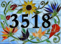 Custom-Made Mosaic House Number Sign - Custom mosaic house numbers ensure a touch of unique style at your front door. Mosaic Crafts, Mosaic Projects, Stained Glass Projects, Stained Glass Patterns, Mosaic Patterns, Mosaic Garden Art, Mosaic Art, Mosaic Glass, Glass Tiles