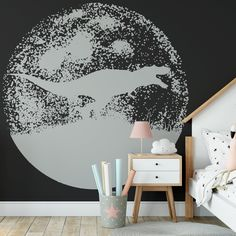 Dinosaur Moon Peel and Stick Kids Animal Wallpaper Black Grey Sharp Shirter - Canvas Wall Decal / 1 roll: 24W x 84H