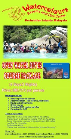 Open Water Diver Package #WatercoloursResort #Pulau #Perhentian #Beautiful #Beach #Island #Resort #Travel #Vacation #Tours #Professional #Dive #Centre #Malaysia #Snorkeling #Corals #Fish #MarineLife #PADI #ScubaDive #DiveTrip #BoatDive #EcoConservation #Holiday #Family #TeamBuilding #Chalets #Impressedus #Hospitality #Discover #WanderLust