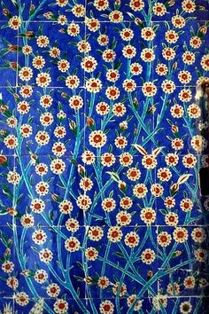 Iznik tiles from the Harem in Topkapi Palace, Istanbul.