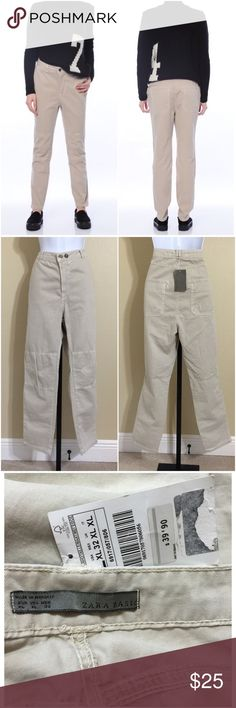 Zara Beige Pants Size XL ZARA Basic Women's Casual Baggy Pants Size XL (Appears 12-14) Beige Color Zip Front 2 Horizontal Metal Logo Button Closure 2 Front Pockets 2 Rear Pockets Belt Loops Seamed At Knee For Comfortable Movement Machine Washable 100% Cotton Inseam Approx. 28 Inches Rise Approx. 12 Inches Waist Approx. 34 Inches Hips Approx. 42 Inches Cuff Approx. 12 Inches Compare Measurements To Your Own Well Fitting Garment To Ensure A Great Fit New With Tag Zara Pants