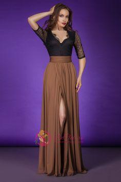 Pret: 129 RON. Eleganta uimitoare domina aspectul aceste rochii de ocazie Arianna. Este o rochie realizata in doua nuante si in doua tipuri de material, negreu sus si maroniu in zona inferioara, rezultatul fiind un contrast foarte placut.