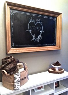 Valentine's Day Chalkboard idea.  I love being creative and incorporating every holiday in to at least a small space in my home!  A chalkboard makes it easy to change the seasons! http://fantabulosity.com