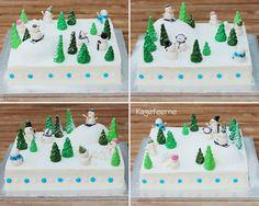 Snow Landscape and snowman cake - Snelandskab og snemands kage