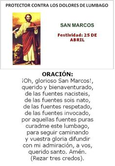 San Marcos, protector contra dolores de lumbago.