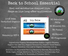 """Organic and toxin-free with no petroleum lip balm in 17 """"flavors"""" for back-to-school! Get yours at Darlene.PoofyOrganics.com!"""