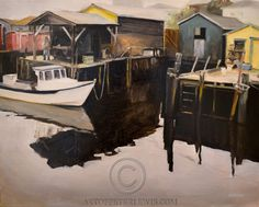St Pierre And Miquelon, Newfoundland And Labrador, Plein Air, Fortune, Painting, Building, House, Gallery, Oil On Canvas