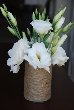 LOVE THIS!!!!! SIMPLE AND STILL ELEGANT!!!!! eco friendly jute twine tin can centerpiece vase decoration craft