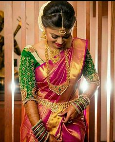 Looking for creative blouse work designs to try with your silk sarees? Here are 16 amazing blouse ideas that can make your silk saree look gorgeous! Blouse Back Neck Designs, Blouse Designs Silk, Pattu Saree Blouse Designs, Bridal Sarees South Indian, Indian Bridal Fashion, Indian Sarees, Silk Sarees, Wedding Saree Blouse Designs, Saree Wedding