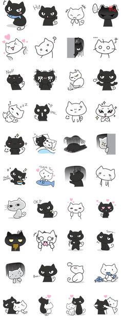 Let's express your feeling to your loved ones through this lovely & cheerful couple, Meow Dam (Black Cat) & Meow Noi (White Cat). Pusheen, Doodle Drawing, Doodle Art, Cartoon Drawings, Animal Drawings, Doodles, Kawaii Cat, Cute Cartoon, Cartoon Cats