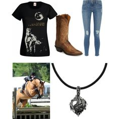 For Horse Western Riding by emilykate1219 on Polyvore featuring polyvore, fashion, style, Frame Denim, Tony Lama and Carolina Glamour Collection