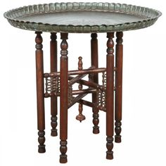Persian Style Bronze Tray Table on Wooden Stand<br /> [$2,850.00]