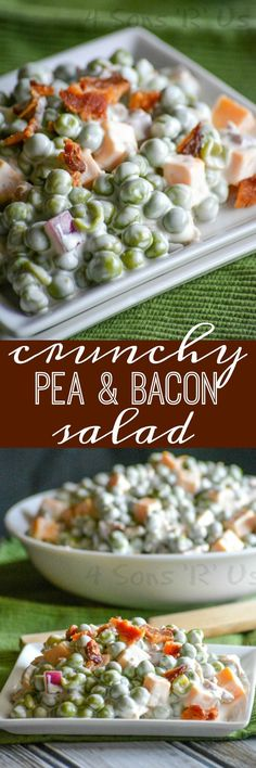 A creamy side salad, this Crunchy Pea & Bacon Salad features cubed cheddar, green peas, and crisp pieces of bacon in a savory sauce. It's is a shoe-in for favorite side dish at your next gathering.
