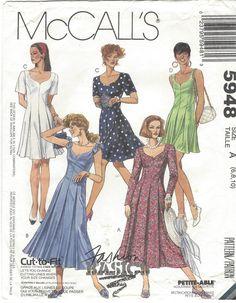 90s McCalls Sewing Pattern 5948 Womens Princess Seam Dress in