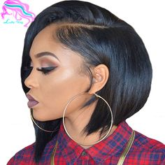 7A New Arrival Short Bob Wigs For Black Woman Brazilian Short Straight Full Lace Bob Wigs Side Part With Bleached Knots On Sale