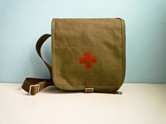 Vintage Red Cross Medic Military Bag Messenger by EuroVintage, Military Messenger Bag, American Red Cross, Guy Stuff, Mandalorian, Canvas Leather, Really Cool Stuff, Charity, Brown Leather, Goodies