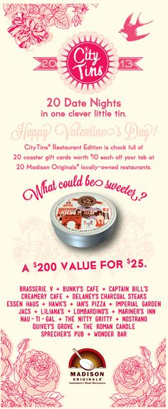 Sweet Valentine's gift -- 20 Dates nights at locally owned restaurants in Madison, Wisconsin