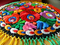Vintage Hungarian MATYO hand embroidered cloth doily multi color  | eBay
