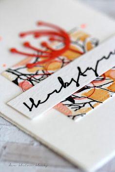 der kleine klecks Feuriger Herbst Charlie & Paulchen Aquarell Orange Herbst Stanzform moderne Blume Stempelset Herbstflora Nymogarn Stitched rectangle Avery Elle